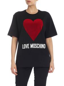 Love Moschino - T-shirt LOVE MOSCHINO flock heart in black