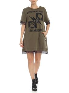 Love Moschino - LOVE AND PEACE dress in Ailitary green