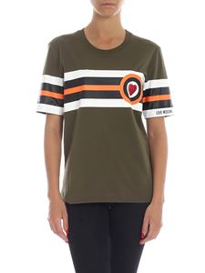 Love Moschino - Heart and stripes t-shirt in green