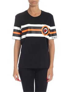 Love Moschino - Heart and stripes t-shirt in black