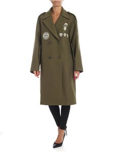 Love Moschino - Double-breasted long coat in green