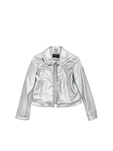 Monnalisa - Silver eco-leather jacket with ruffles