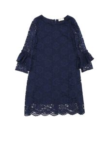 Monnalisa Chic - Long sleeve lace dress in blue