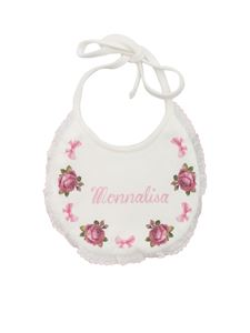 Monnalisa - Bib with galette in white