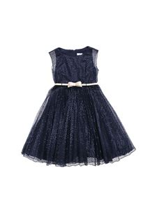 Monnalisa - Dress in blue sequins and tulle