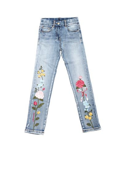 Monnalisa - Jeans with flowers embroidery in light blue denim