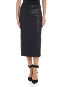 be Blumarine - Eco leather midi skirt in black
