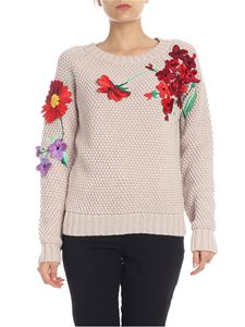 Blumarine - Pullover in Dove-gray color with flowers