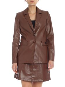 be Blumarine - Blazer in ecopelle marrone