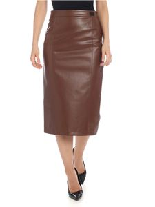 be Blumarine - Midi eco-leather skirt in brown
