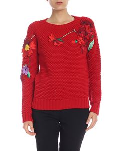 Blumarine - Pullover in red with floral embroidery