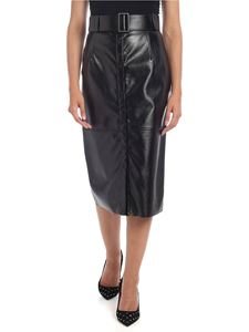 MSGM - Eco-leather skirt in black with belt