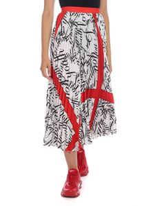 MSGM - Pleated skirt in white with lettering print