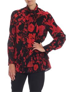 Valentino - Overdyed shirt in black with double flower print