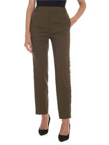 Etro - Trousers in green with satin profile
