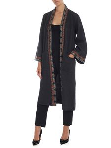 Etro - Oversize cardigan in melange gray with embroidery