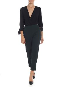 Elisabetta Franchi - Crossover jumpsuit in glass green and black