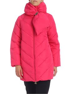 Elisabetta Franchi - Down jacket oversize in fuchsia with front bow