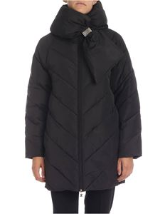 Elisabetta Franchi - Oversize down jacket in black with front bow