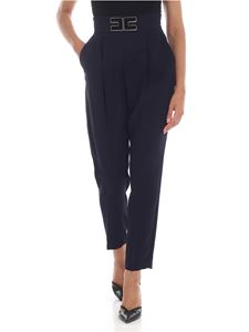Elisabetta Franchi - Trousers in blue with golden logo