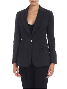 Elisabetta Franchi - Single-breasted jacket in black with branded edges