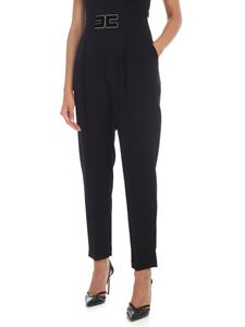 Elisabetta Franchi - Trousers in black with golden logo