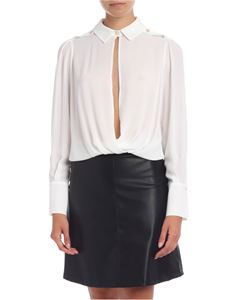 Elisabetta Franchi - Body shirt with open neckline in ivory color