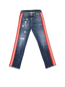 GCDS - Blue jeans with red and white GCDS bands