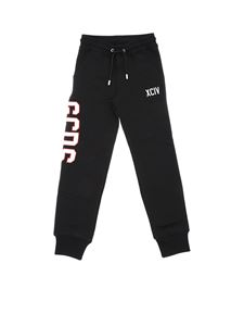 GCDS - Black fleece pants with GCDS logo