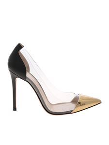 Gianvito Rossi - Plexi pointy pumps in black and gold