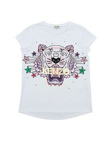 Kenzo - Tiger round-neck t-shirt in white with logo