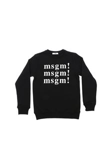 MSGM - Black crewneck sweatshirt with MSGM prints