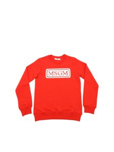 MSGM - Red sweatshirt with sequins MSGM logo