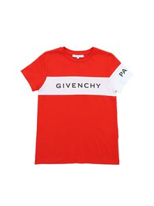Givenchy - T-shirt rossa con logo Givenchy Paris