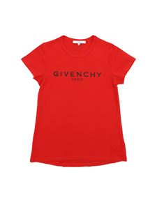 Givenchy - T-shirt rossa con logo effetto crackle