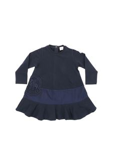 Moncler Jr - Blue dress with logo embroidery