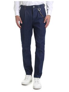 Ribbon Clothing - Pantaloni blu con catenella
