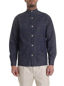 Ribbon Clothing - Mandarin collar shirt in blue with stripes