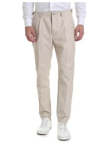 Ribbon Clothing - Pantaloni beige in denim giapponese