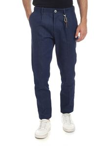 Ribbon Clothing - Pantalone in denim blu con charm