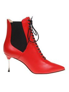 Sergio Rossi - Lace-up ankle boots in red leather