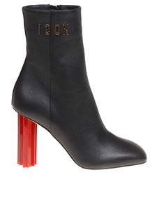 Dsquared2 - Ankle boots in black leather with red heel