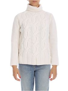 Kangra Cashmere - Braided turtleneck sweater in cream color