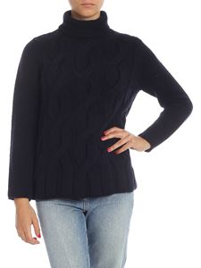 Kangra Cashmere - Cable knitted turtleneck in blue