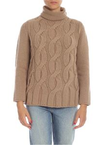 Kangra Cashmere - Cable knitted turtleneck in beige
