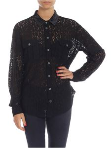 N° 21 - Black lace shirt with nude effect