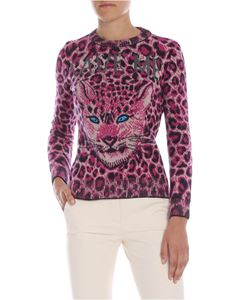 Alberta Ferretti - Save Me animal printed pullover in black and fuchsia