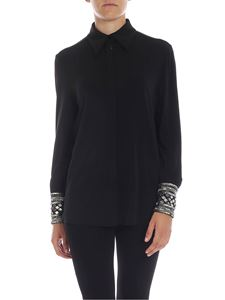 Alberta Ferretti - Black shirt with micro-beads and sequins