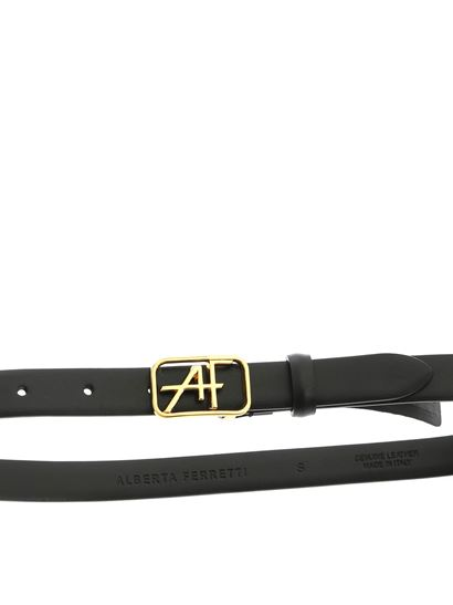 Alberta Ferretti - Black leather belt with logo