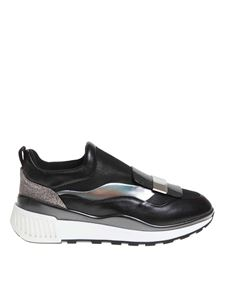 Sergio Rossi - SR1 running sneakers in black and steel color